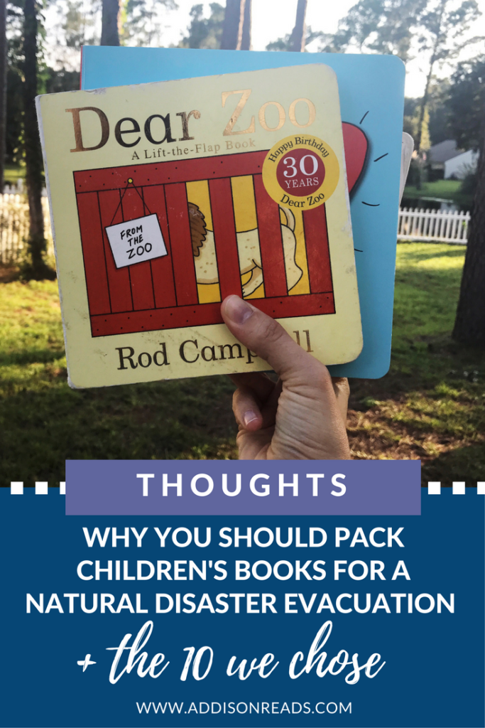 Mandatory Hurricane Evacuation: How to Pack Children's Books for a Natural Disaster and Why (+ the 10 books we're taking) | Hurricane Irma | Preparing children for a hurricane | @addisonreads | www.addisonreads.com | Children's books to travel with | Hurricane evacuation tips with children
